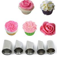 5 Set Rose Petal Icing Piping Düsen Metall Cream Tips Cake Dekorieren