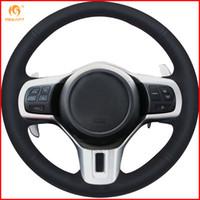MEWANT for Mitsubishi Lancer 10 EVO Evolution Black Micro Fiber Artificial  Leather Car Steering Wheel Cover Accessories Parts
