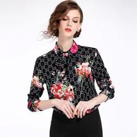 düğme güzel toptan satış-Yüksek Kaliteli kadın Elegance Çiçek Baskı İnce Gömlek Tops Lady Güzel Ofis Düğmesi Ön Yaka Boyun Uzun Kollu Gömlek Bluz
