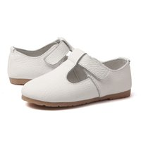 zapatos de vestir de princesa de chicas blancas al por mayor-Nuevo 2018 White Flower Girls Zapatos de vestir de cuero genuino para niñas pequeñas Spring Princess Shoe Party and Wedding Single Shoes 44