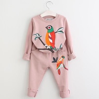 Wholesale cute tracksuits for sale - Group buy Children Spring printed birds Clothing Sets Kids Sport Suits Long Sleeve Tracksuits For Girls Costumes cute colorful types clothes QQA180