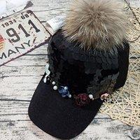 çiçek topu kapağı toptan satış-Saç Topu Sokak Sonbahar Kış Visor ile Kore Çiçek İnci Eklenmiş Pullarda Visors Şapka Kadınlar Siyah Casual Şapkalar Ayarlanabilir Caps