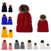 Wholesale knitted yarn flowers for sale - Group buy Autumn winter Parent child style woolen yarn caps Lovely fashion Keep warm children s caps Hair ball hemp flowers knitted cap T9C00152