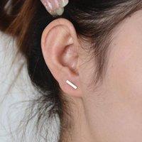 Wholesale t studs resale online - 2020 Fashion Gold plated Silver plated Black Punk Simple T Bar Earrings For Women Ear Stud Line Earrings Fine Jewelry Minimalist Earrings