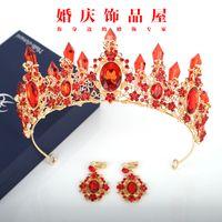 koreanisches europäisches kleid großhandel-Koreanische Braut Kristall Krone Kopfschmuck europäischen und amerikanischen Hochzeit Prinzessin Krone Haarschmuck atmosphärischen Luxus Brautkleid