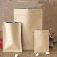 Wholesale lined paper resale online - Eco Friendly cm Food Moisture proof Bags Kraft Paper Aluminum Foil Lining Pouch Ziplock Packaging Bag Candy Cookie Baking