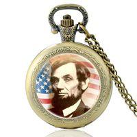 716dd19dd83 Vintage presidente dos estados unidos da américa abraham lincoln relógio de  bolso de bronze das mulheres dos homens relógio de quartzo colar de jóias