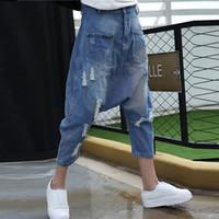 mulheres folgadas joggers venda por atacado-Mulheres Baggy Denim Harem pants Fazer Velho Estilo Low drop Crotch Jeans Hip hop dança de rua Calças Americanas Plus Size Corredores 1666