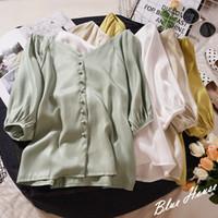 ingrosso camicia a maniche gialle-Camicetta casual con scollo a V a mezza manica con maniche a palloncino vintage donna T-shirt a cardigan giallo verde moda allentata