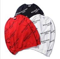 lettres pull noir achat en gros de-Créateur de mode de la marque Tide harajuku hip-hop Logo de boîte d'impression de lettres en noir et blanc logo hommes et femmes Pull à la mode à col rond