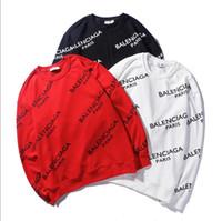 letras de suéter negro al por mayor-Marca de la marca Tide diseñador de moda harajuku hip hop Letras en blanco y negro caja de impresión logo hombres y mujeresCuello redondo Moda suéter