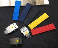 ingrosso braccialetti di fascia gialla-Cinturino per cinturino in caucciù 22mm 24mm cinturino in gomma siliconica blu scuro rosso giallo nero per Navitimer / avenger / breitling Strumenti cinturino T190620