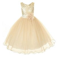 ingrosso nuovi stili ragazzi abiti in pizzo-New Style Girl Dress Cute Paillettes senza maniche Vest Princess Lace Dress Baby Kids Party Matrimonio Damigella d'onore Vestido