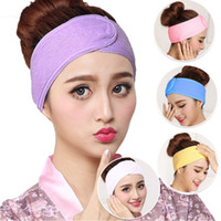 Wholesale wash headband resale online - Spa Bath Shower Wash Face Elastic Hair Bands Fashion Head turban Ladies Cosmetic Fabric Towel Make Up Tiara Headbands for Women