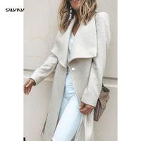 Wholesale winter long coats white elegant for sale - Group buy SWYIVY Women s Wool Long Coat Woolen Ladies Elegant Woman Coats Winter Female Coat Slim Coats Woman Winter Wool
