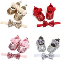 Wholesale infants stockings for sale - Group buy US STOCK Bowknot Sequins Baby Girls Shoes Infant Newborn Princess Shoes First Walkers Hairband Baby Girl Birthday Party