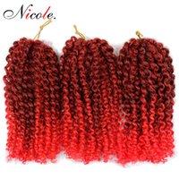 ingrosso proiezioni ondulate dei capelli di treccia-Nicole Sintetico Crochet Trecce Estensioni dei capelli Marely Intrecciare i capelli Crochet Kinky ricci ondulati Malibob Capelli sintetici