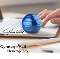 giroscópio de metal venda por atacado-5 cores Gyroscope Bola desktop Toy Vortecon Kinetic 4,5 centímetros Stress Relief liga de alumínio de descompressão Brinquedos Novidade Itens 60pcs CCA11429-A