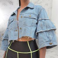 jaqueta denim feminina xl venda por atacado-Designer Womens Jeans rebarbas Jacket Moda Alargamento da luva Femmes Top Curto Denim Jacket Moda Shorts Streetwear