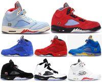 ingrosso scarpe da basket laney-Trophy Room di alta qualità x 5 Ice Blue JSP Scarpe da basket da uomo 5s Laney Varsity Royal PSG Paris Red Blue Suede Sneaker da ginnastica con scatola