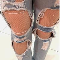 şeffaf kristal taşlar toptan satış-Seksi Kadın Çorap Kristal Rhinestone Fishnet Elastik Çorap Balık Net Tayt Külotlu Kadın Çorap Şeffaf Tayt