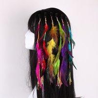 ingrosso piume colorate indiane-Colourful della piuma della Boemia Clip di capelli delle barrette dei monili delle donne della clip di BB della piuma degli accessori dei capelli indiani all'ingrosso della miscela