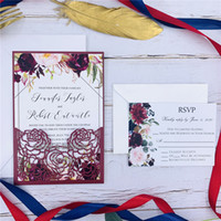 Wholesale free engagement invitation cards resale online - Special Burgundy Laser Cut Wedding Invitation With Personalized Insert Floral Invite For Wedding And Engagement Free Design
