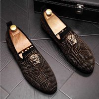 Wholesale office slipper shoes for sale - Group buy Classic Business Diamond Rhinestone Men Loafers Brand Rivets Shoes Slip on Pointed Toe Party Slippers Wedding Shoes