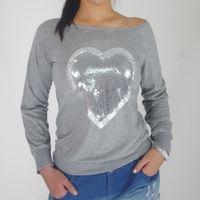 paillette hemden großhandel-Mode herzförmige Paillette Pailletten feste lässige Oberteile bequeme Baumwolle O-Neck Full Sleeve Shirt