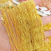 ingrosso collana della catena dell'oro di 18k-100% 18K Pure Gold Collana da donna FashionTrendy yellow white rose lady unisex Catenina da donna 004