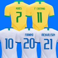 camisa s venda por atacado-brazil 2019 camisa de futebol copa américa brasil camiseta de COUTINHO FIRMINO JESUS camisa de futebol PAQUETA MARCELO 2018 camisa de futebol