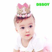 ingrosso baby tiaras corona le fasce-Designer Baby Crowns Diademi fascia con fiori artificiali / Bambini Birthday Party Supplier / Neonato Puntelli fotografia