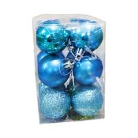 árvore de natal decoração azul venda por atacado-12 Pçs / lote 4 cm Bola De Natal Pendurado Árvore Bola Enfeites De Festa De Natal Da Árvore De Santa suprimentos decoração - Azul Entrega Mista