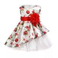 neujahrsblume großhandel-Mädchen Party Wear Kleider Neue Jahr Kleidung Party Baby Mädchen Ärmellos Große Rote Blume Prinzessin Hochzeit Kinder Geburtstag Kleid