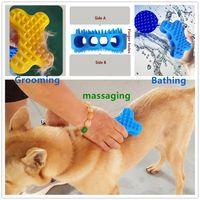 ingrosso pettini di capelli in silicone-Silicone Pet Bath Comb Dog Cat Grooming Cleaning Brush Depilazione Massaggiatore Soft and Tender BPA-free spedizione gratuita FEDEX