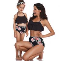 Wholesale generations clothing for sale - Group buy Women Clothes Two Piece Sets New Blast Designer Swimsuit Print High Waist Bikini Lotus Leaf Side Parent Swimsuit Factory Spot A Generation