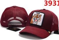tiger golf großhandel-Hochwertige Luxus Designer Unisex Outdoor Tiger Wolf Bär Tier Stickerei Baseball Cap Retro Mode Golf Visier Knochen Casquette Papa Hut