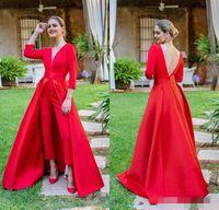 kırmızı uzun boyun balo elbiseleri toptan satış-2019 Yeni Kırmızı Tulumlar Gelinlik Modelleri 3/4 Uzun Kollu V Boyun Örgün Akşam Parti Törenlerinde Ucuz Özel Durum Pantolon