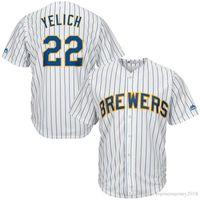 stickerei xxxl großhandel-Milwaukee Herren Brewers 22 Christian Yelich Jersey Top 8 Ryan Braun 19 Robin Yount 7 Eric Thames Stickerei Baseball