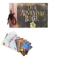 kraftpapieralben großhandel-Jahrgang 40 Stück 80 Seiten Kraftpapier Blatt Karte unsere mein Abenteuer Buch handgefertigt Pixar Diy Foto Sammelalbum Fotoalbum Q190531