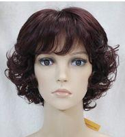 peluca rizada vino al por mayor-SHIPPIN + ++ GRATIS Nueva peluca Corta Vino Rojo Mezcla Mujer Peluca rizada completa Nueva peluca de cabello peluca