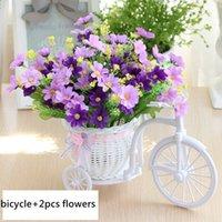 outdoor rattan sets toptan satış-Htmeing Yapay Set Rattan Bisiklet Sepet Çiçek Buketleri Düğün Araba Için Açık Kapalı Ev Masa Dekor Q190522