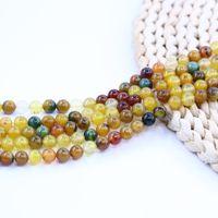 gelbe steinschmucksachen großhandel-Gelbgrün Achat Perlen Runde Naturstein Perlen Fabrik 15 Zoll Strang pro Set für Schmuck Diy