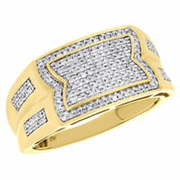 Wholesale pinky band resale online - 10K Yellow Gold Genuine Round Diamond Stepped Pinky Ring Mens Pave Band Ct