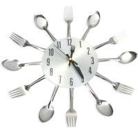 wanduhr gabel groihandel-3D Wanduhr Edelstahl-Messer-Gabel Modernes Design Große Küchen-Wand-Uhr-Quarz-Uhren für Home Office Decor
