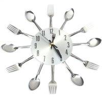 relojes de cuchillo al por mayor-Reloj de pared 3D de acero inoxidable Cuchillo Tenedor diseño moderno grande pared de la cocina reloj de cuarzo relojes de Home Office Decor