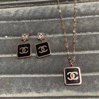 halsketten-sets großhandel-Top Qualität 18 Karat Roségold Großhandel deluxe Marke diamant Schmuck Sets Mode schwarz anhänger ohrringe Halskette für frauen mädchen