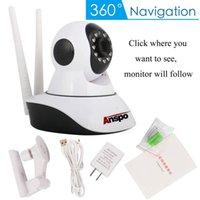 cctv eğim kamerası toptan satış-Anspo Kablosuz 720 P Pan Tilt Ağ Ev CCTV IP Kamera Ağ Gözetim IR Gece Görüş WiFi Webcam Kapalı Bebek Monitörü 72100-720 p