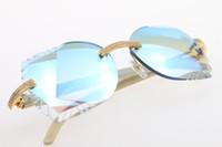 Wholesale natural purple stone for sale - Group buy Big Stones Glasses White Genuine Natural Horn Rimless Sunglasses Unisex High end designer Glasses Carved Blue mirror Lens