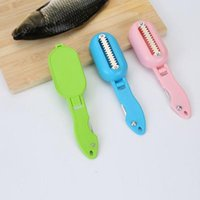 Wholesale fish skin remover tools resale online - htga Hot Portable Fish scales skin remover scaler and knife fast cleaning fish skin steel plastic scraper kitchenware clean peeler tool